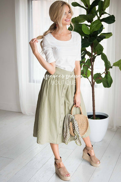 Oh Happy Days Button Skirt Modest Dresses vendor-unknown