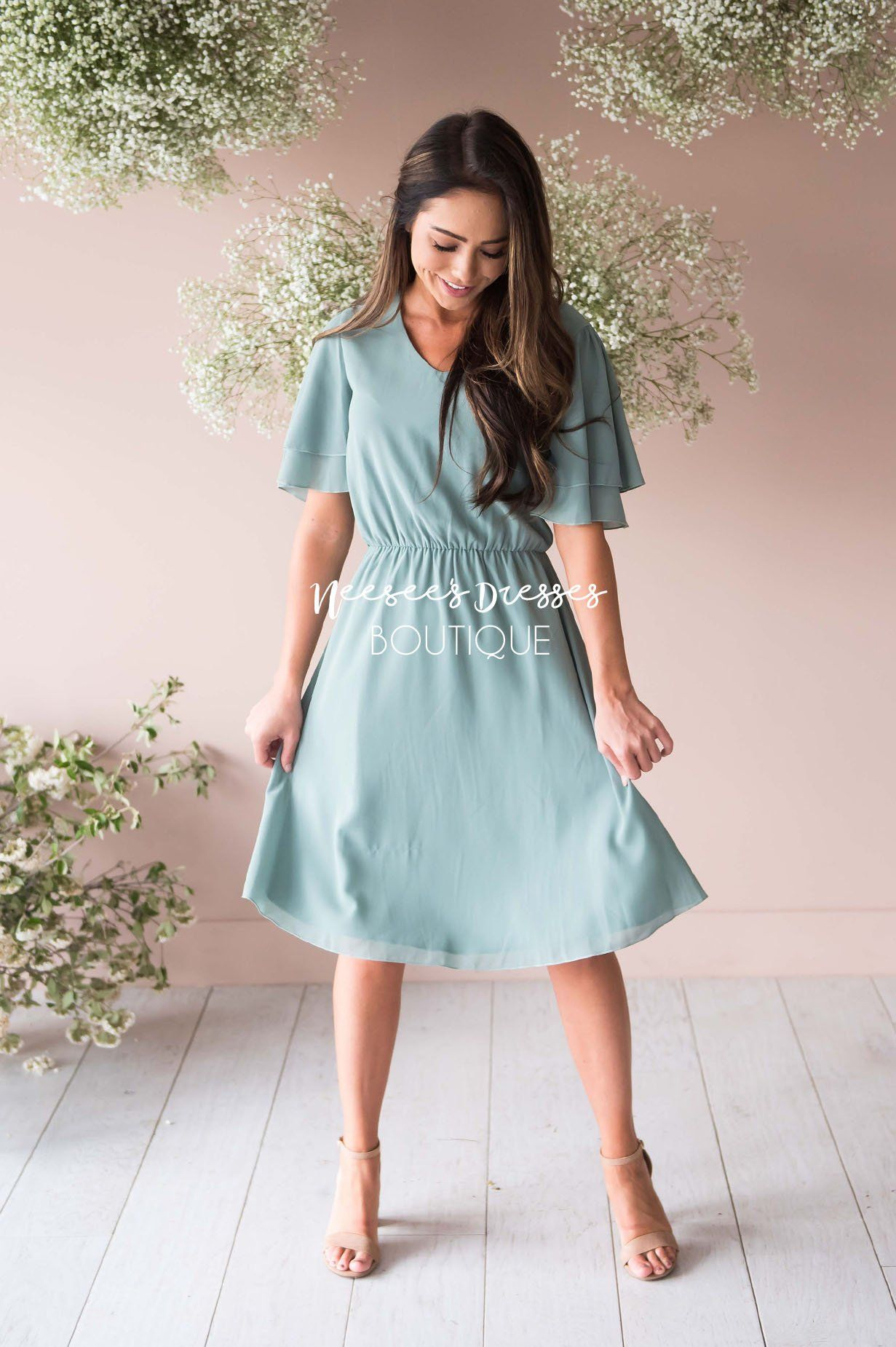 b2333a7e3c5f4 Simply Sage Chiffon Dress | Modest Bridesmaids Dresses - Neesee's ...