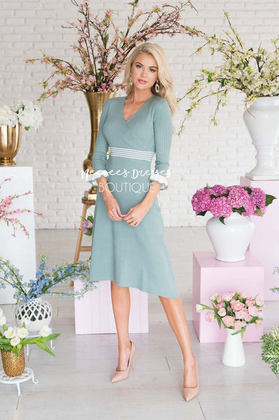 2efb8bff784d Sage Ruffle Sweater Modest Dress | Best and Affordable Modest ...