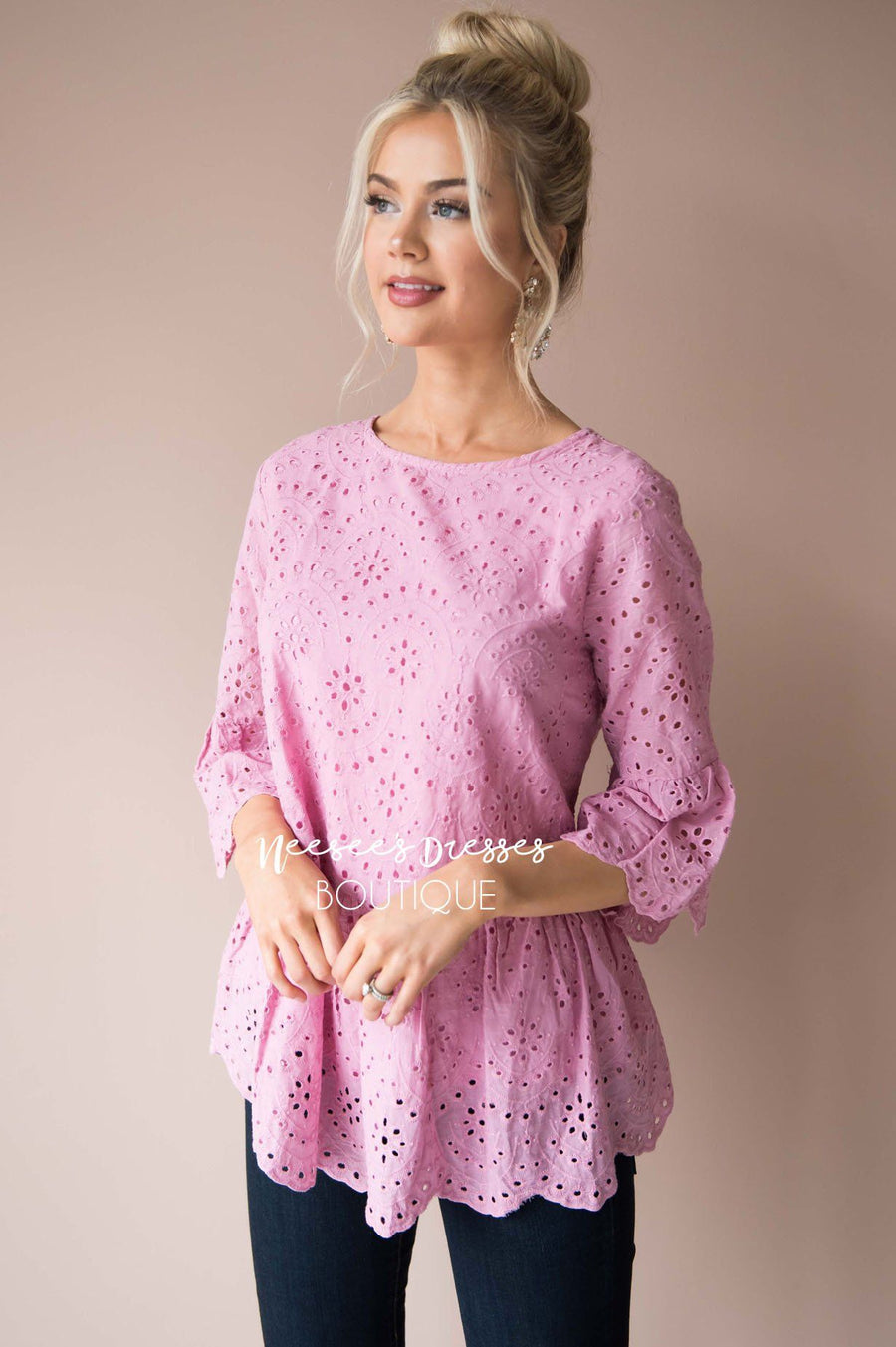 Spread The Love Scalloped Hem Eyelet Top
