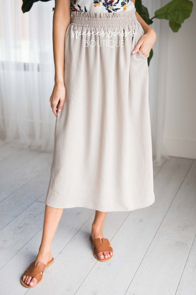 Soft Taupe Smock Waist Skirt Modest Dresses vendor-unknown
