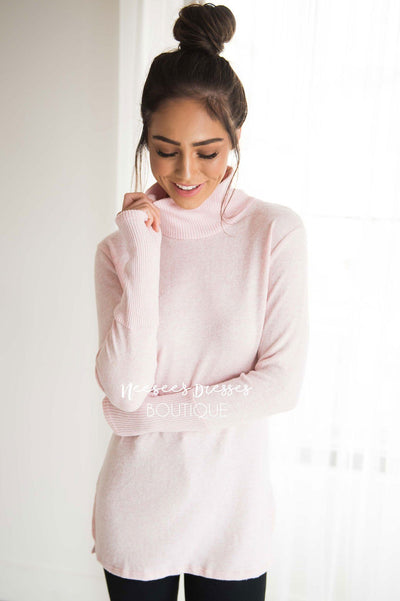 Soft Pink Turtleneck Sweater Modest Dresses vendor-unknown