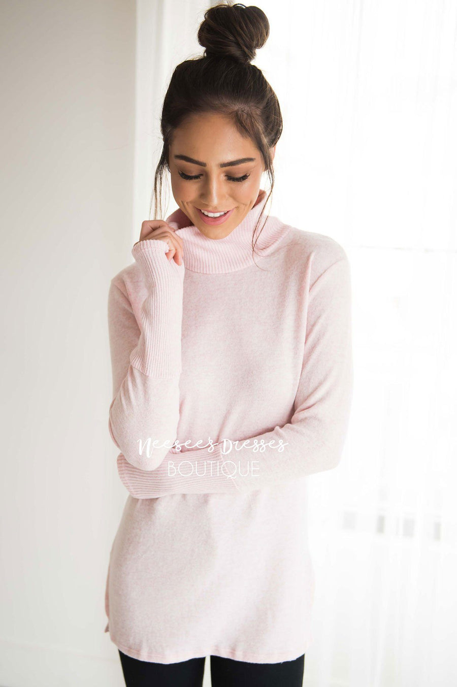 Soft Pink Turtleneck Sweater