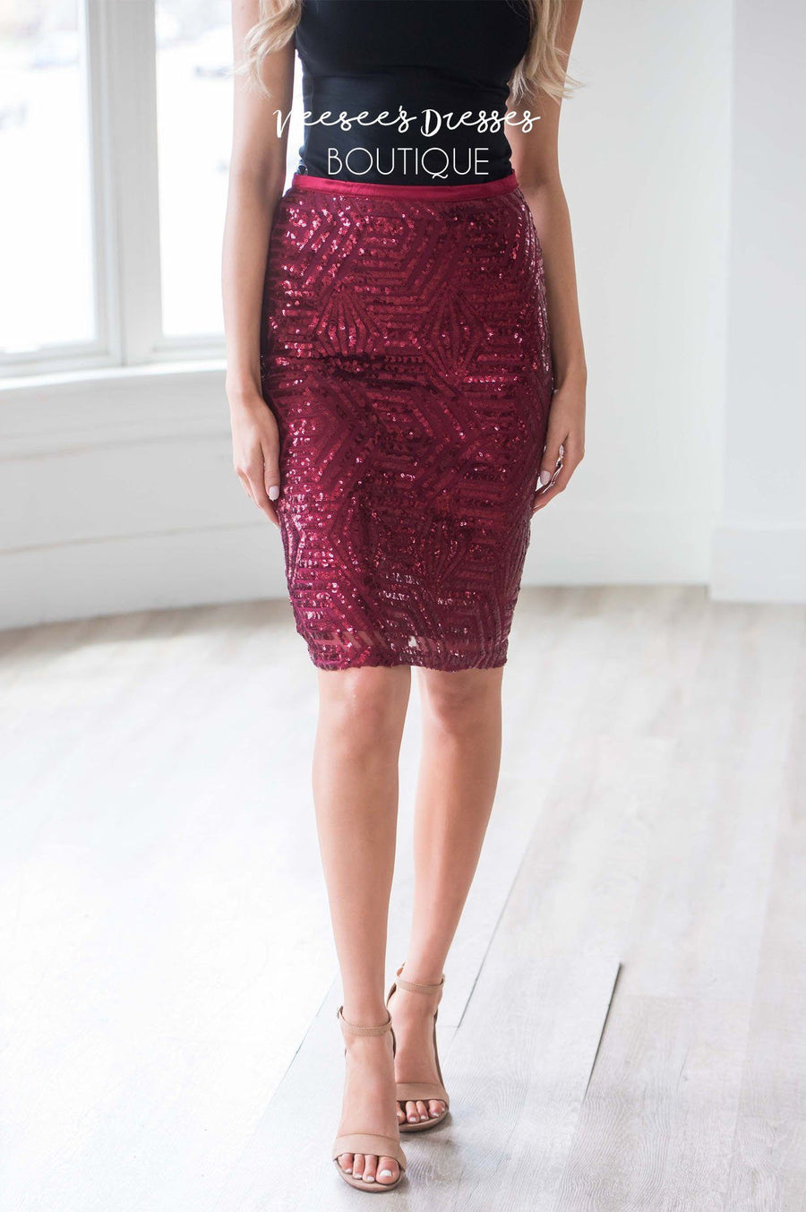 Sparkly Nights Burgundy Sequin Skirt Skirts vendor-unknown