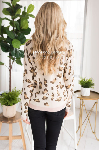 Sweet Leopard Print Sweater Tops vendor-unknown