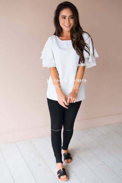 Wish You Were Here Pom Sleeve Top Modest Dresses vendor-unknown