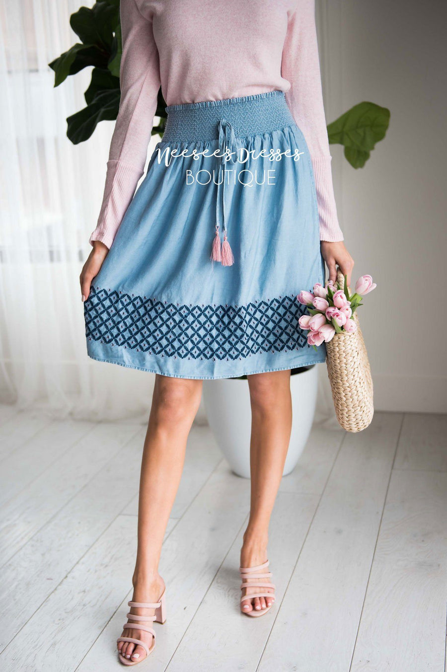 Chambray Smockwaist Tassel Skirt