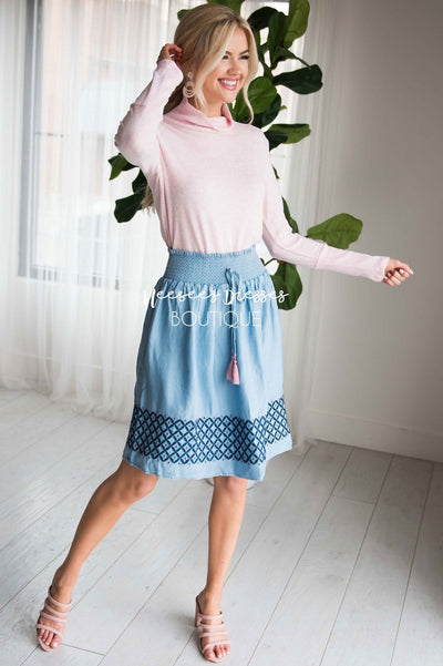 Chambray Smockwaist Tassel Skirt Skirts vendor-unknown