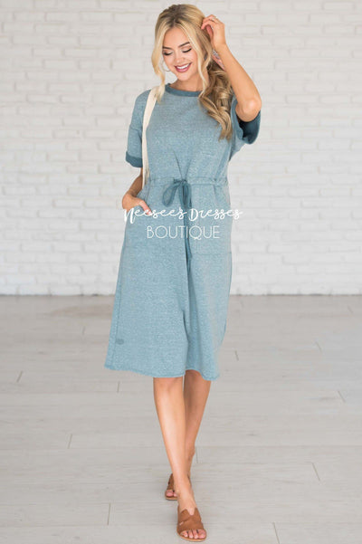 Teal Dress Modest Dresses vendor-unknown
