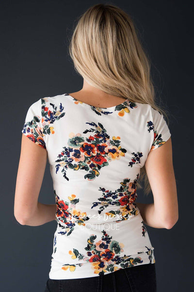 Colorful Floral Scoop Neck Tee Modest Dresses vendor-unknown