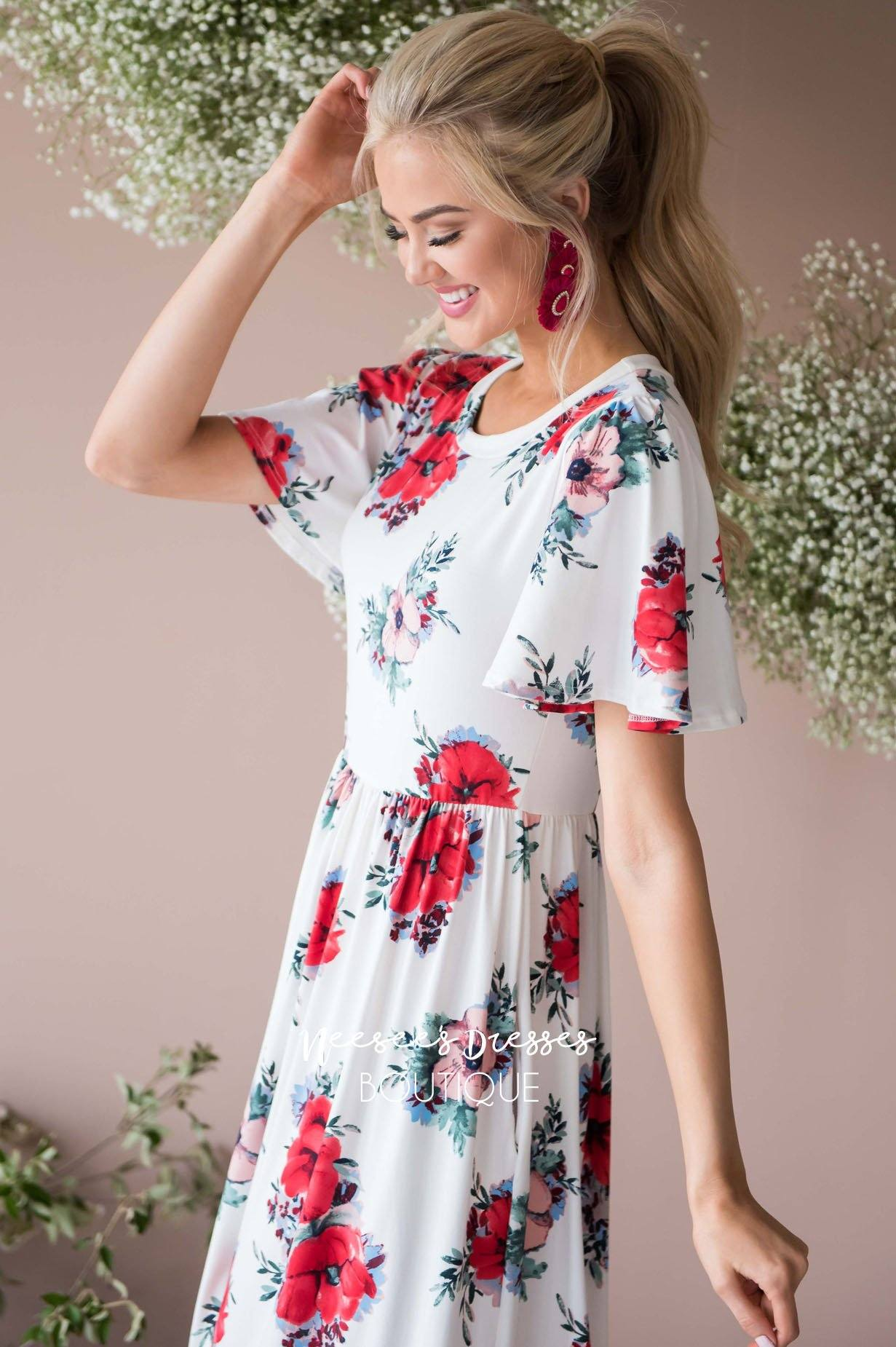 bf3830bb33 Ivory/Red Floral Maxi Modest Church Dress   Best and Affordable ...