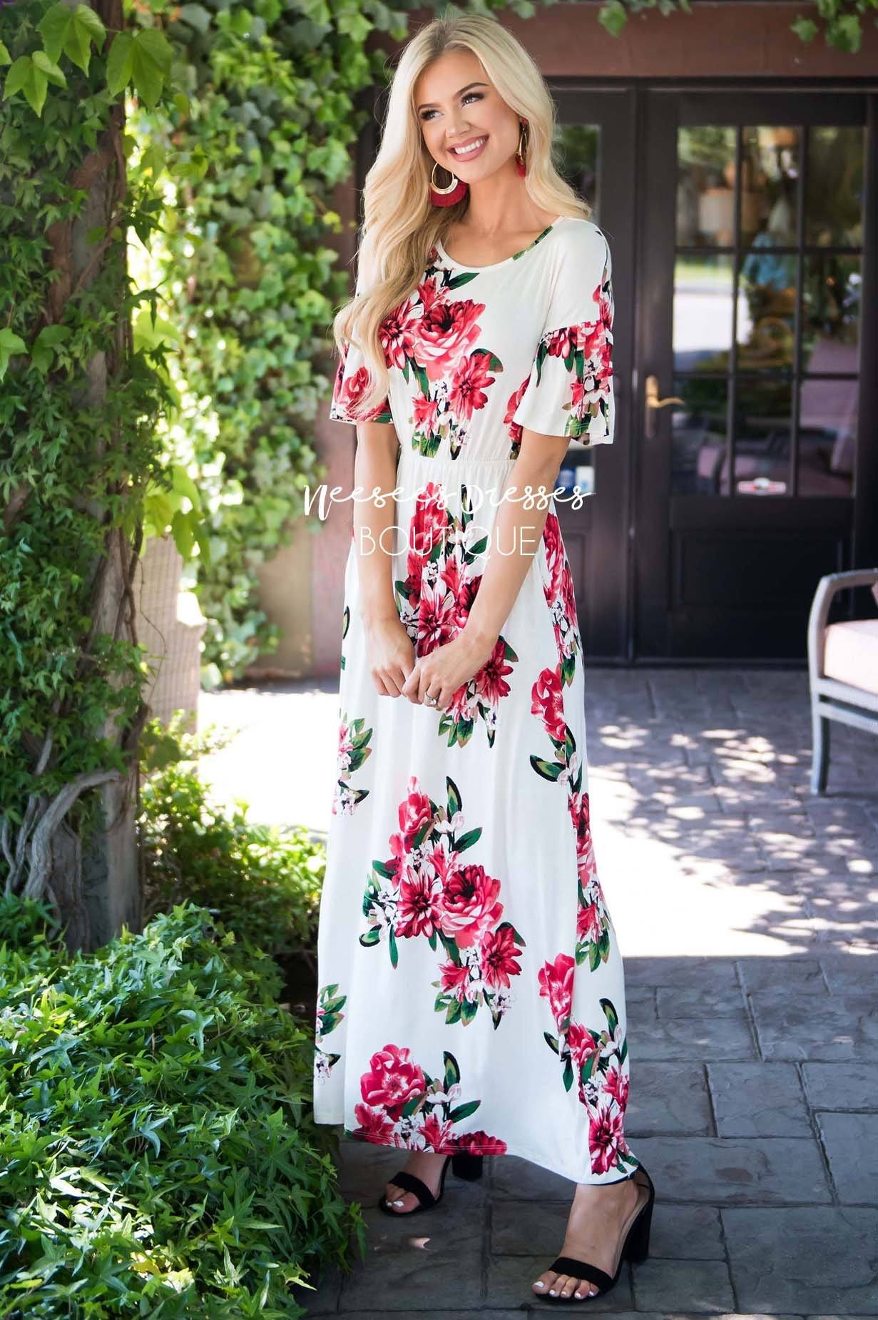 496a974cfd Ivory Red Floral Modest Maxi Dress   Best and Affordable Modest ...
