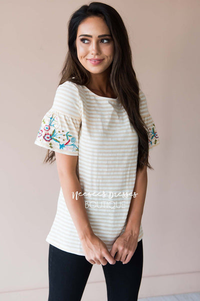 Fall in Line Embroidered Sleeve Top Modest Dresses vendor-unknown