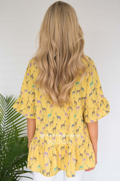 You Are My Sunshine Peplum Blouse Modest Dresses vendor-unknown