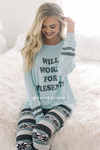 Will Work for Presents Ice Blue Sweater New Year SALE vendor-unknown Ice Blue S