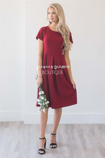 The Kelsie Modest Dresses vendor-unknown Cranberry S