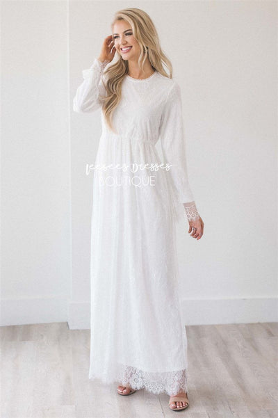 The Shellie Modest Dresses vendor-unknown S White