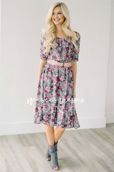 The Easton Floral Dress Modest Dresses vendor-unknown Gray XS