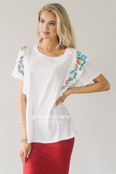 Cute Embroidered Ruffle Sleeve Top Tops vendor-unknown S White