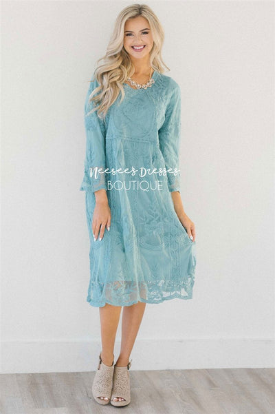 Day Dreamer Lace Dress in Dusty Teal Modest Dresses vendor-unknown