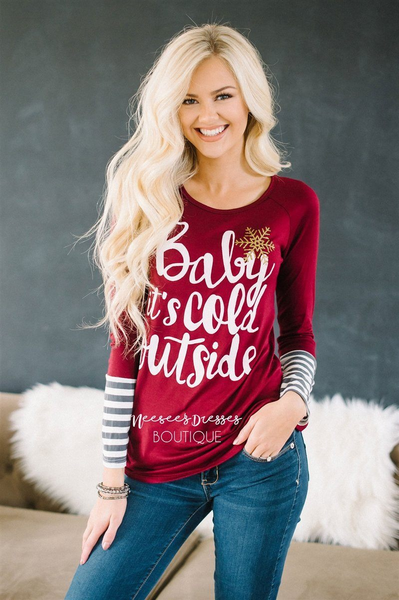 Baby It's Cold Outside Burgundy Top
