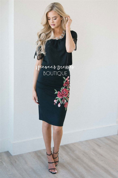 Black Rose Embroidered Pencil Skirt Skirts vendor-unknown