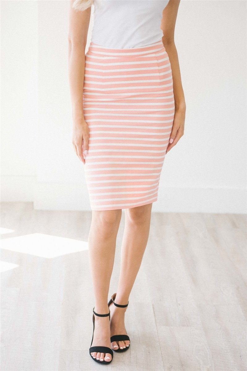 Adorable Coral & White Stripe Pencil Skirt