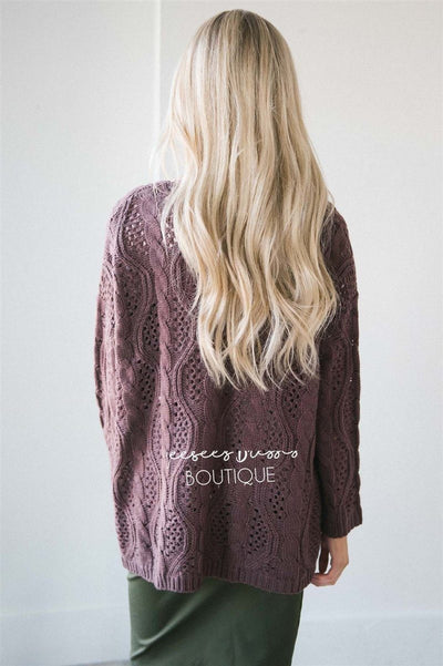 Over Sized Crochet Knit Cardigan Tops vendor-unknown