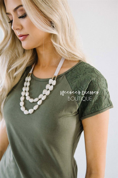 Olive Lace Sleeve Top Tops vendor-unknown