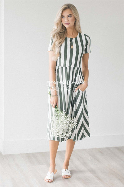 The Amy Modest Dresses vendor-unknown Olive & Ivory Stripes S
