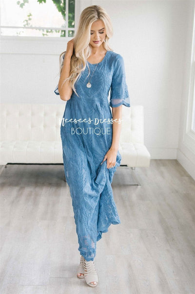 Day Dreamer Lace Full Length Dress Modest Dresses vendor-unknown Small/Medium Cornflower Blue