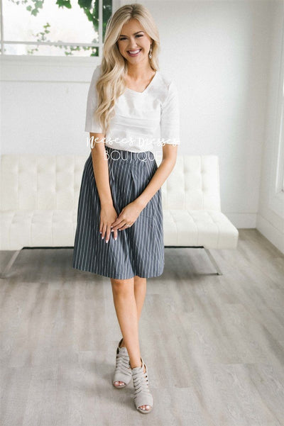 Striped Aline Skirt Skirts vendor-unknown