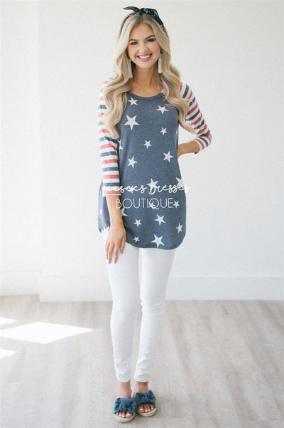 Stars & Stripes Baseball Sleeve Top Red White & Blue vendor-unknown