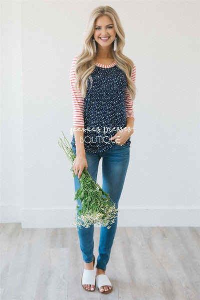 Twinkle Star Striped Baseball Sleeve Top Tops vendor-unknown