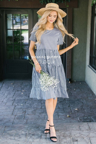 The Jillian Modest Dresses vendor-unknown S Black & White Gingham Print