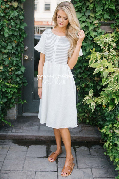 The Isla Modest Dresses vendor-unknown S Heather Gray & Ivory Stripes