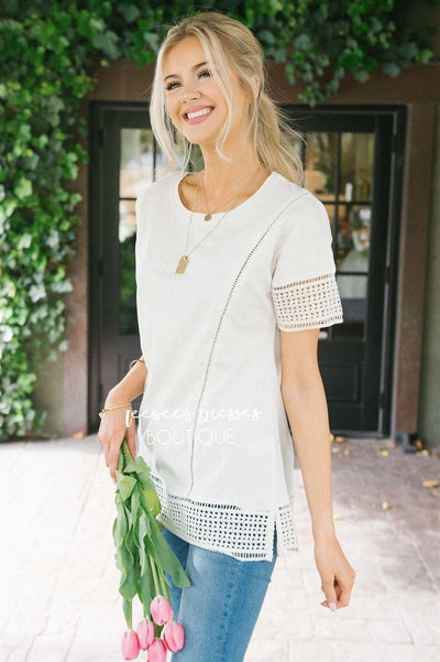 Eyelet Lace Trim Detail Top Tops vendor-unknown Ivory XS