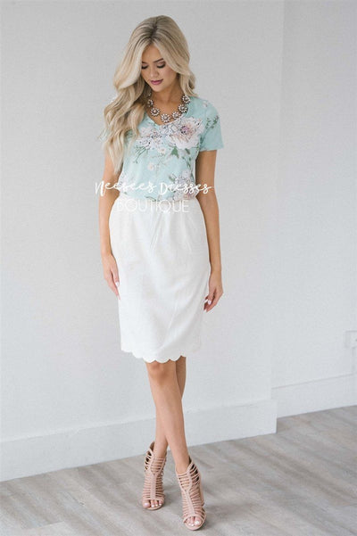 Ivory Scalloped Pencil Skirt Skirts vendor-unknown