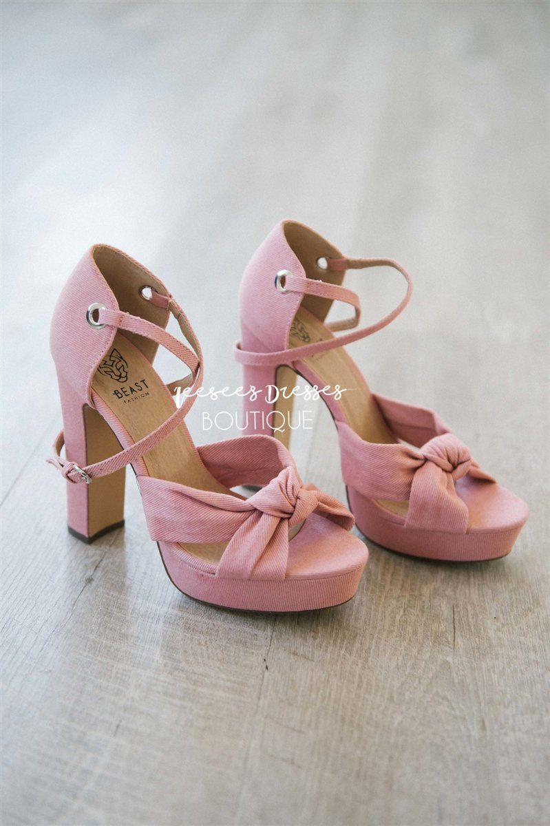 219efbda81 Pink Denim Knotted Strappy Heels Accessories & Shoes vendor-unknown Pink 5.5