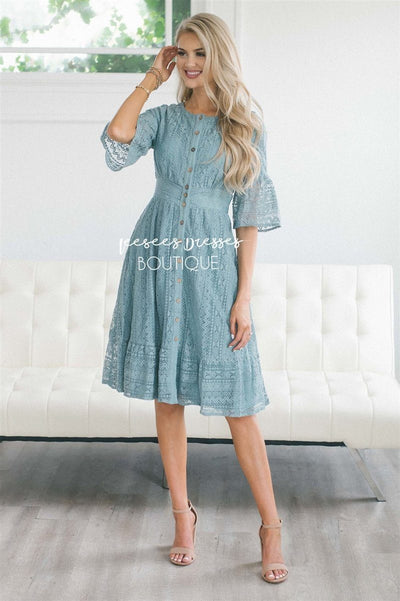 The Elaine Modest Dresses vendor-unknown Dusty Teal S