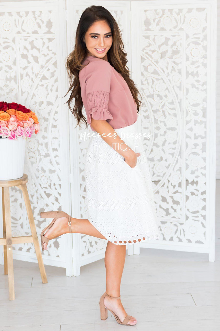 Always Happy Eyelet Skirt