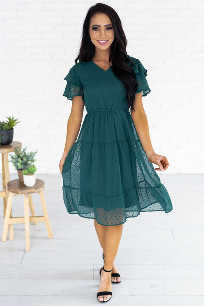 The Amy Swiss Dot Modest Dresses vendor-unknown