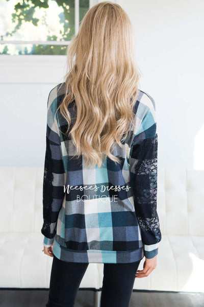 Aqua & Black Plaid Lace Sleeve Sweater Tops vendor-unknown
