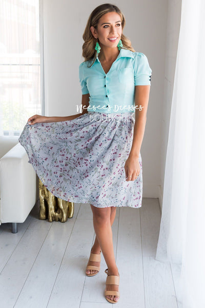 Shimmery Gray & Dusty Plum Floral Pocket Skirt Skirts vendor-unknown