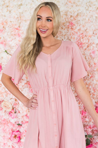 The Aria Button Dress Modest Dresses vendor-unknown