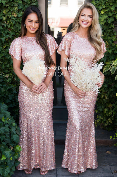 The Aurora Rose Gold Sequin Gown Modest Dresses vendor-unknown