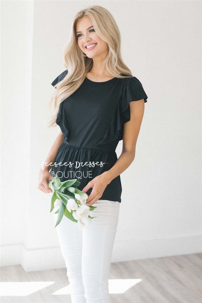 Peplum Ruffle Top Tops vendor-unknown Black S