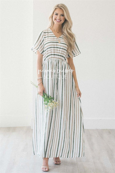 The Cortni Modest Dresses vendor-unknown Ivory, Sandy Taupe & Olive Stripes S