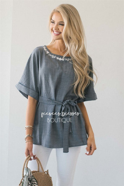 Embroidered Dolman Sleeve Tie Waist Top Tops vendor-unknown Charcoal S