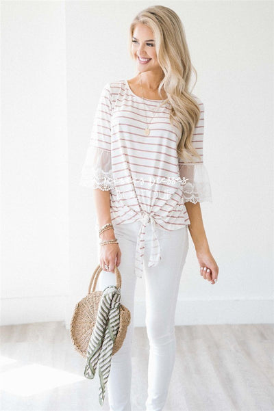 Lace Bell Sleeve Tie Front Top Tops vendor-unknown Dusty Pink & Ivory Stripes S